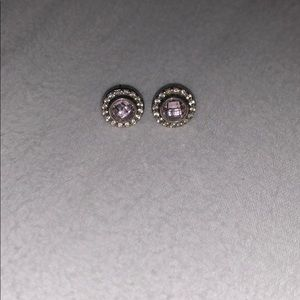 Pandora Earrings Pink and Clear CZ Sterling Silver